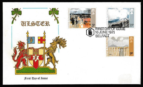 Great Britain First Day Cover, 'Ulster Paintings', Thames Gold Embossed, Belfast, 16-Jun-1971