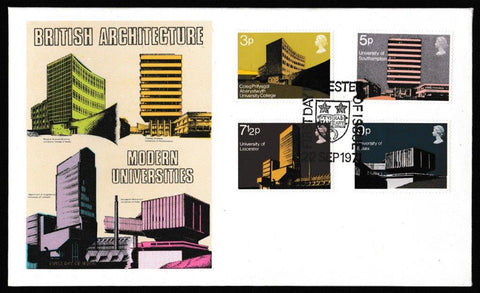 Great Britain First Day Cover, 'British Architecture - Modern Universities', Thames Gold Embossed, Leicester, 22-Sep-1971