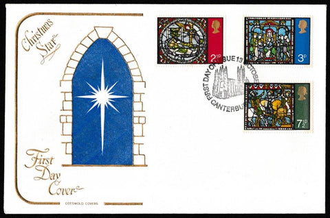 Great Britain First Day Cover, 'Christmas 1971', Cotswold, Canterbury, 13-Oct-1971
