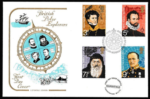 Great Britain First Day Cover, 'British Polar Explorers', Cotswold, Philatelic Bureau, Edinburgh, 16-Feb-1972