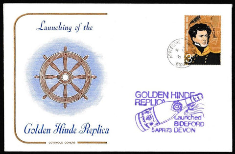 Great Britain Commemorative Cover, 'Launch of the Golden Hinde Replica Bideford Devon', Cotswold, Appledore, Bideford, Devon, 05-Apr-1973