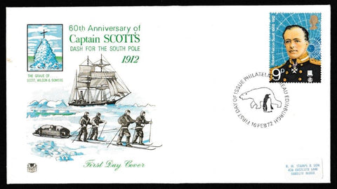 Great Britain First Day Cover, 'British Polar Explorers', Stuart, Philatelic Bureau, Edinburgh, 16-Feb-1972
