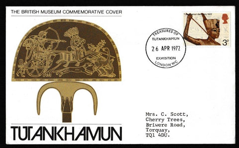 Great Britain First Day Cover, 'General Anniversaries', Official, Treasures of Tutankhamun Exhibition London WC, 26-Apr-1972