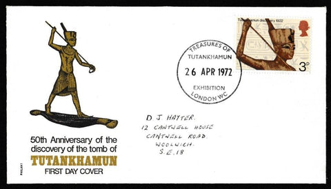 Great Britain First Day Cover, 'General Anniversaries', Philart, Treasures of Tutankhamun Exhibition London WC, 26-Apr-1972