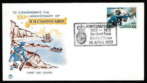 Great Britain First Day Cover, 'General Anniversaries', Stuart, HM Coastguard, Bideford, Devon, 26-Apr-1972