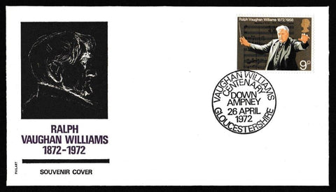 Great Britain First Day Cover, 'General Anniversaries', Philart, Vaughn Williams Centenary, Down Ampney, Gloucs, 26-Apr-1972