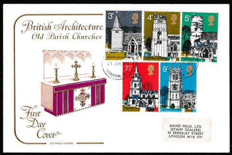 Great Britain First Day Cover, 'British Architecture - Village Churches', Cotswold, London, W11, 21-Jun-1972