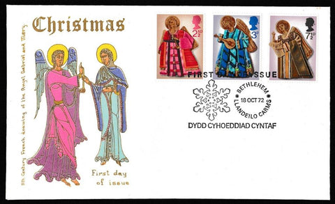 Great Britain First Day Cover, 'Christmas 1972', Thames Gold Embossed, Bethlehem, Llandeilo, 18-Oct-1972