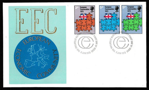 Great Britain First Day Cover, 'European Communities', Thames Gold Embossed, Philatelic Bureau, Edinburgh, 03-Jan-1973