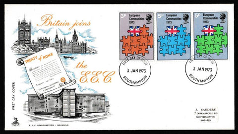 Great Britain First Day Cover, 'European Communities', Mercury, Southampton, 03-Jan-1973