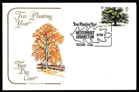 Great Britain First Day Cover, 'British Trees', Cotswold, Westonbirt Arboretum, Tetbury, Glos, 28-Feb-1973