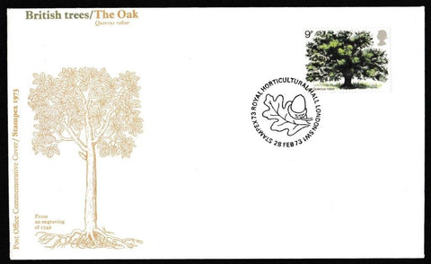 Great Britain First Day Cover, 'British Trees', Royal Mail, Stampex73, Royal Horticultural Hall, London, SW1, 28-Feb-1973