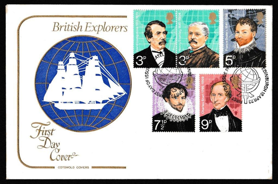 Great Britain First Day Cover, 'British Explorers', Cotswold, Philatelic Bureau, Edinburgh, 18-Apr-1973