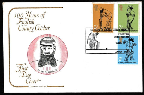 Great Britain First Day Cover, 'Centenary of County Cricket', Cotswold, 100 Years of English County Cricket, Lords, London NW8, 16-May-1973