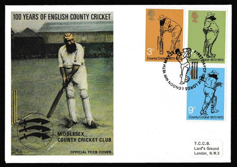 Great Britain First Day Cover, 'Centenary of County Cricket', Official, Lords, London NW, 16-May-1973