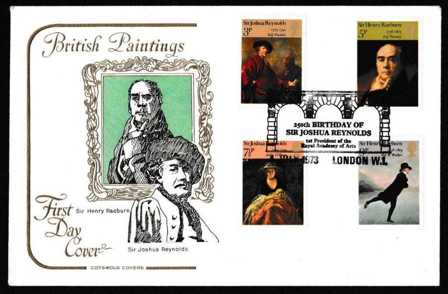 Great Britain First Day Cover, 'British Paintings', Cotswold, 250th Birthday of Sir Joshua Reynolds, London W1, 04-Jul-1973