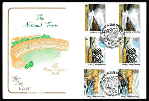 Great Britain First Day Cover, 'The National Trusts - Gutter Pair Cover Set', Cotswold, National Trust for Scotland, Glenfinnan, Inverness-Shire, 24-Jun-1981