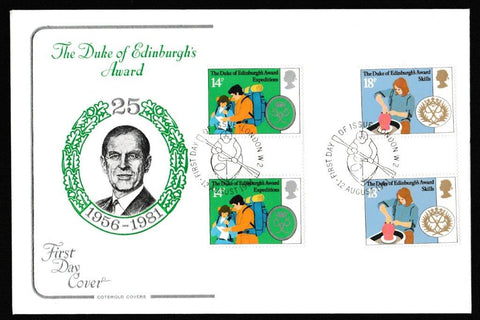 Great Britain First Day Cover, 'Duke of Edinburgh's Award Scheme - Gutter Pair Cover Set', Cotswold, Philatelic Bureau, Edinburgh, 12-Aug-1981