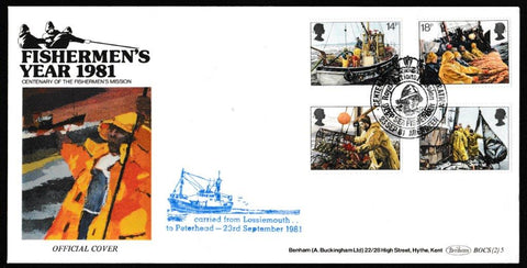 Great Britain First Day Cover, 'Fishing Industry', Benham, Deep Sea Fisherman Mission, Aberdeen, 23-Sep-1981