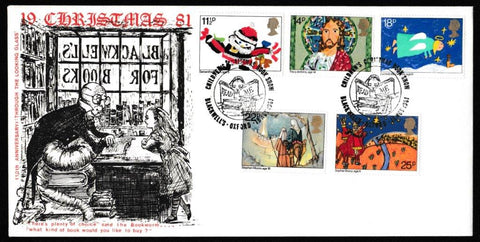Great Britain First Day Cover, 'Christmas 1981', Hawkwood, Childrens Christmas Book Show, Blackwell's,Oxford, 18-Nov-1981