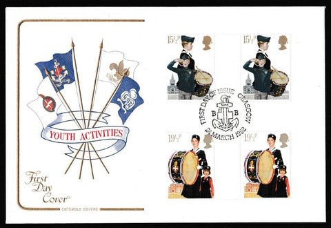 Great Britain First Day Cover, 'Youth Organisations - Gutter Pair Cover Set', Cotswold, Glasgow, 24-Mar-1982