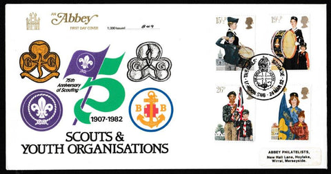 Great Britain First Day Cover, 'Youth Organisations', Abbey, The Girls' Brigade, London, SW6, 24-Mar-1982