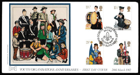 Great Britain First Day Cover, 'Youth Organisations', Havering, Scouts Anniversary, St Marys, Hendon, 24-Mar-1982