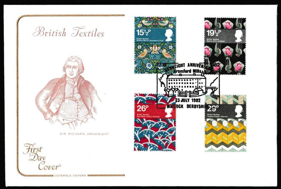 Great Britain First Day Cover, 'British Textiles', Cotswold, Arkwright Anniversary, Matlock, Derbyshire, 23-Jul-1982