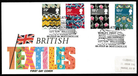 Great Britain First Day Cover, 'British Textiles', Hawkwood, Hickley Mill, Nottingham, 23-Jul-1982