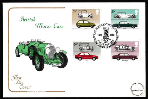 Great Britain First Day Cover, 'British Motor Industry', Cotswold, Rolls Royce Enthusiasts Club, Paulespury, 13-Oct-1982