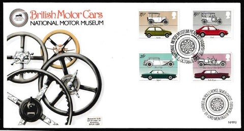 Great Britain First Day Cover, 'British Motor Industry', Official, National Motor Museum, Buealiue, Hampshire, 13-Oct-1982