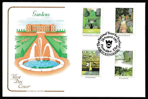 Great Britain First Day Cover, 'British Gardens', Cotswold, The National Trust for Scotland, Pitmedden, Ellon, 24-Aug-1983