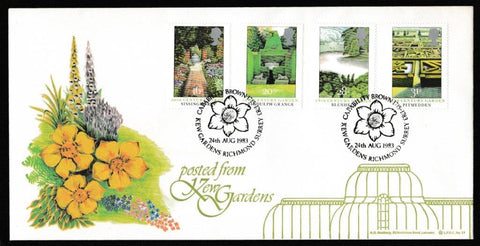 Great Britain First Day Cover, 'British Gardens', LFDC, Capability Brown, Kew Gardens, Richmond Surrey, 24-Aug-1983