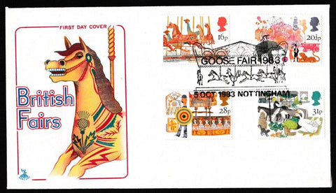 Great Britain First Day Cover, 'British Fairs', Mercury, Goose Fair 1983, Nottingham, 05-Oct-1983