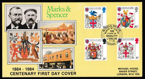 Great Britain First Day Cover, 'Heraldry - College of Arms Quincentenary', DG Taylor, Marks & Spencer Centenary, London, W1, 17-Jan-1984