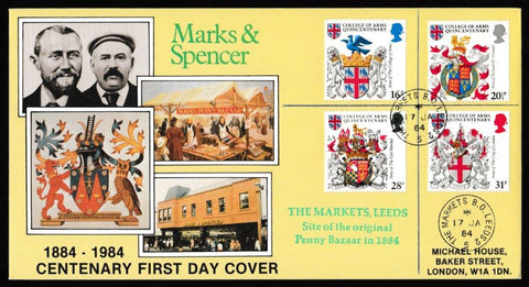 Great Britain First Day Cover, 'Heraldry - College of Arms Quincentenary', DG Taylor, The Markets B.O., Leeds, 17-Jan-1984