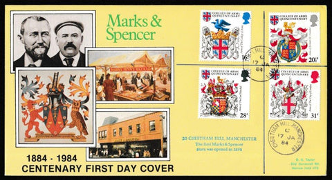 Great Britain First Day Cover, 'Heraldry - College of Arms Quincentenary', DG Taylor, Cheetham Hill, Manchester, 17-Jan-1984