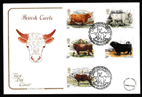 Great Britain First Day Cover, 'British Cattle', Cotswold, The Last Stronghold of the Chillingham Bull, Alnwick, 06-Mar-1984