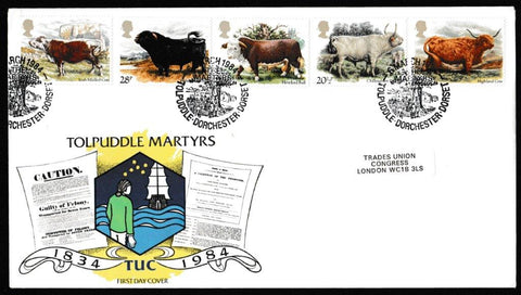 Great Britain First Day Cover, 'British Cattle', Official, Tolpuddle, Dorchester, Dorset, 06-Mar-1984