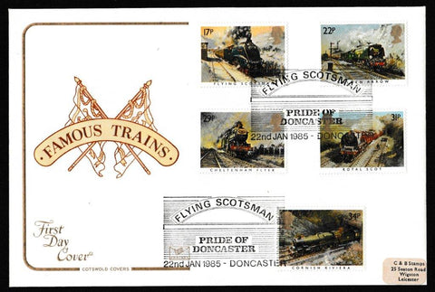 Great Britain First Day Cover, 'Famous Trains', Cotswold, Flying Scotsman, Pride of Doncaster, 22-Jan-1985