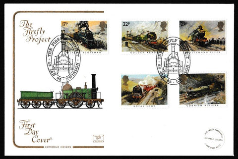 Great Britain First Day Cover, 'Famous Trains', Cotswold, The Firefly Project, Swindon, 22-Jan-1985