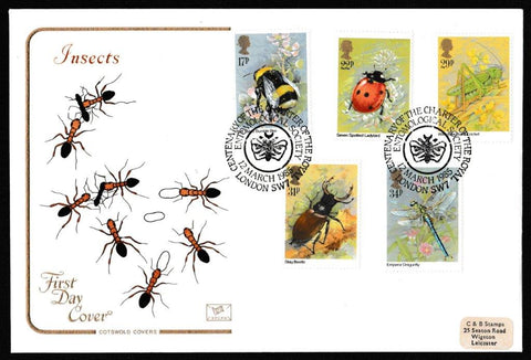 Great Britain First Day Cover, 'Insects - Centenary Royal Entomological Society Charter', Cotswold, Centenary of the Charter of the Entemological Society, London SW7, 12-Mar-1985