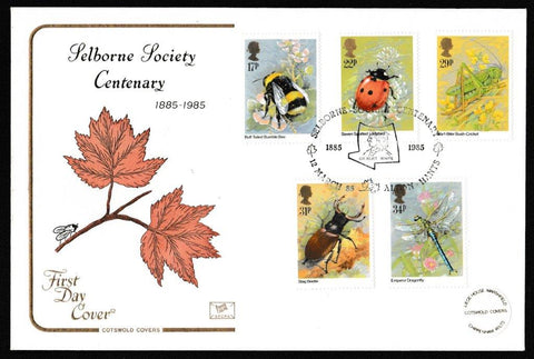 Great Britain First Day Cover, 'Insects - Centenary Royal Entomological Society Charter', Cotswold, Selborne Society Centenary, Alton, Hants, 12-Mar-1985