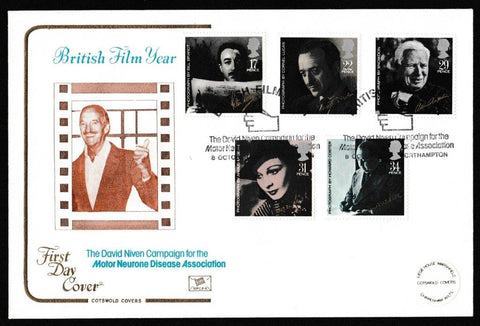 Great Britain First Day Cover, 'British Film Year', Cotswold, David Niven Campaign for Motor Neurone Disease, Northampton, 08-Oct-1985
