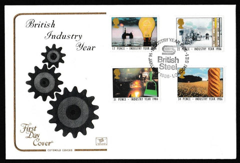 Great Britain First Day Cover, 'Industry Year', Cotswold, British Steel Industry Year, London, SE1, 14-Jan-1986