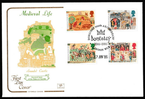 Great Britain First Day Cover, '900th Anniversary of the Domesday Book', Cotswold, Domesday 900th Anniversary, London, WC2, 17-Jun-1986