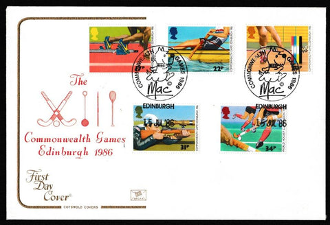 Great Britain First Day Cover, '13th Commonwealth Games', Cotswold, Commonwealth Games, Mac, Edinburgh, 15-Jul-1986