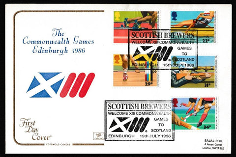 Great Britain First Day Cover, '13th Commonwealth Games', Cotswold, Scottish Brewers, Edinburgh, 15-Jul-1986
