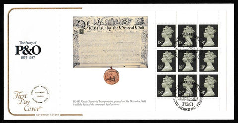 Great Britain First Day Cover, '£5 P&O - Prestige Stamp Book Pane - Set of 4 Covers', Cotswold, Falmouth, Cornwall, 03-Mar-1987