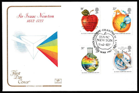 Great Britain First Day Cover, 'Sir Isaac Newton', Cotswold, Isaac Newton 1942 - 1727, Woolsthorpe, grantham, Lincs, 25-Mar-1987